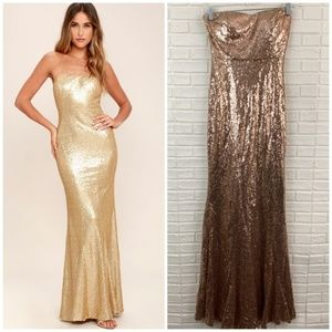 Lulus majestic muse rose gold pink sequin gown
